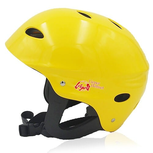 Sir Panda Water-sport helmet LH037W yellow side for kids kayak, raft and water skate sport protective safe accessory tools