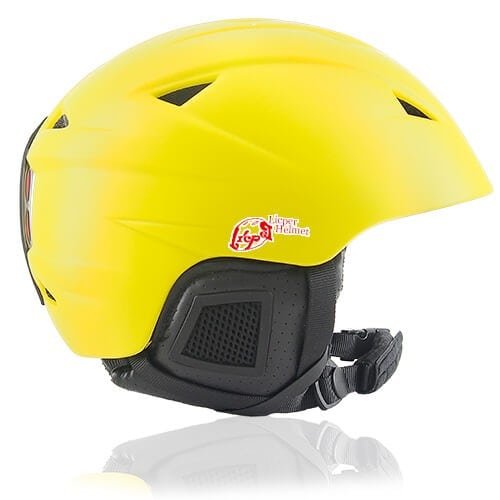 Wise Willow Ski Helmet LH508A Yellow side for adults skiing, snowboarding, ski racing and snow skate safety and warm accessory tools