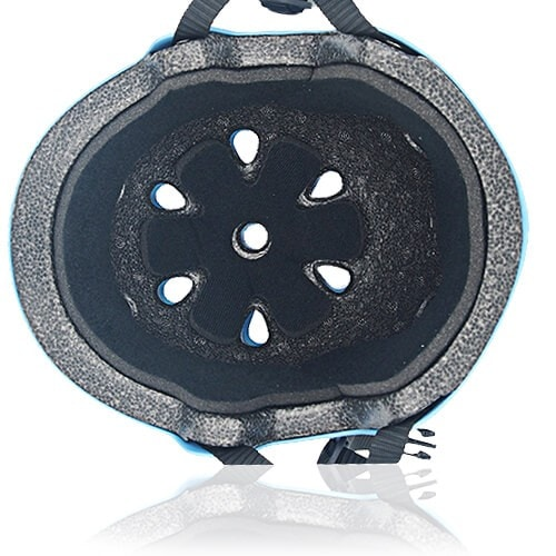 Round Rose Skate Helmet LH230 Blue inner for adults and kids scooter, roller, inline skater, skateboard and balance bike sport protective gear